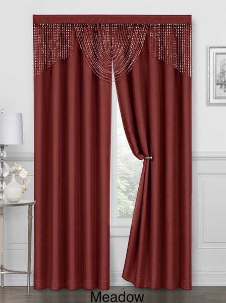 Meadow Rod Pocket Curtain Panel - 052x084   Spice/Red  C44704- Marburn Curtains