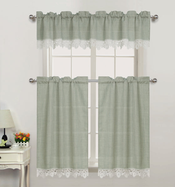 Nancy Rod Pocket Lace Trimmed Valance - - Marburn Curtains