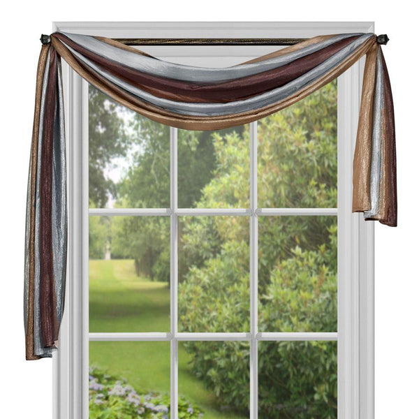 Ombre Scarf Valance Topper - Scarf 050x144 Chocolate C31386- Marburn Curtains