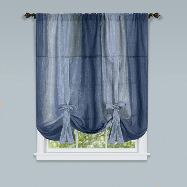 Ombre Rod Pocket Tie-Up Balloon Shade - Tie Up Shade 050x063 Blue C35862- Marburn Curtains