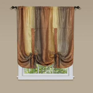 Ombre Rod Pocket Tie-Up Balloon Shade - Tie Up Shade 050x063 Autumn C32157- Marburn Curtains