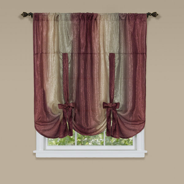 Ombre Rod Pocket Tie-Up Balloon Shade - Tie Up Shade 050x063 Burgundy C26820- Marburn Curtains