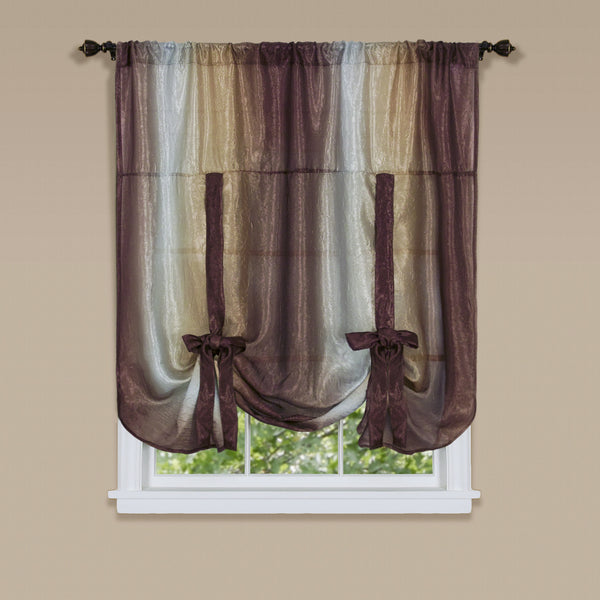 Ombre Rod Pocket Tie-Up Balloon Shade - Tie Up Shade 050x063 Chocolate C32159- Marburn Curtains