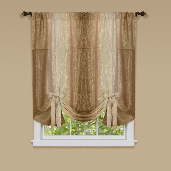 Ombre Rod Pocket Tie-Up Balloon Shade - Tie Up Shade 050x063 Sandstone C32160- Marburn Curtains