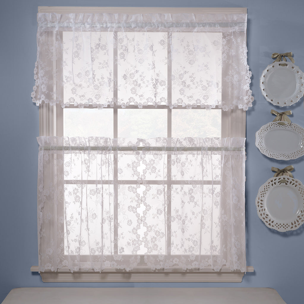 Petite Fleur Lace Rod Pocket Tier /Valance/Swag