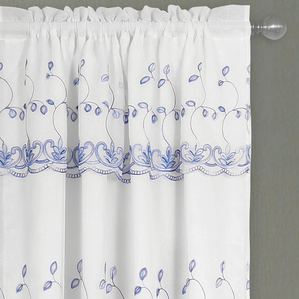 Penelope Lined Embroidered Rod Pocket Panel w/attached Valance 84""