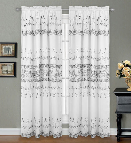 "Penelope Lined Embroidered Rod Pocket Panel w/attached Valance 84"" - White/Silver C42179- Marburn Curtains"