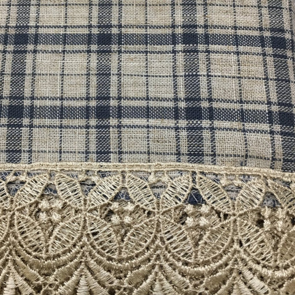 Maisie Rod Pocket Lace Trimmed Plaid Tier - 045x024 Navy C42488- Marburn Curtains