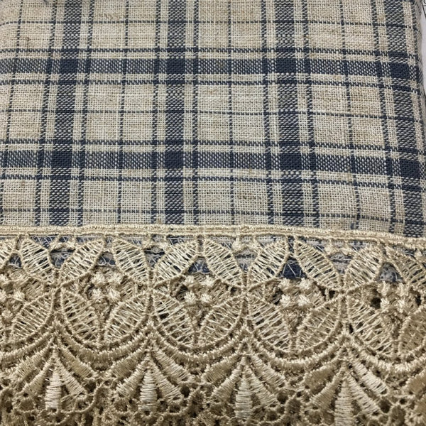 Maisie Rod Pocket Lace Trimmed Plaid Valance - 054x014 Navy C42498- Marburn Curtains