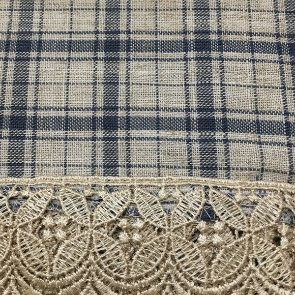 Maisie Rod Pocket Lace Trimmed Plaid Swag - 054x038 Navy C42503- Marburn Curtains