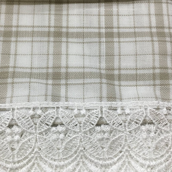 Maisie Rod Pocket Lace Trimmed Plaid Swag - 054x038 Linen C42502- Marburn Curtains