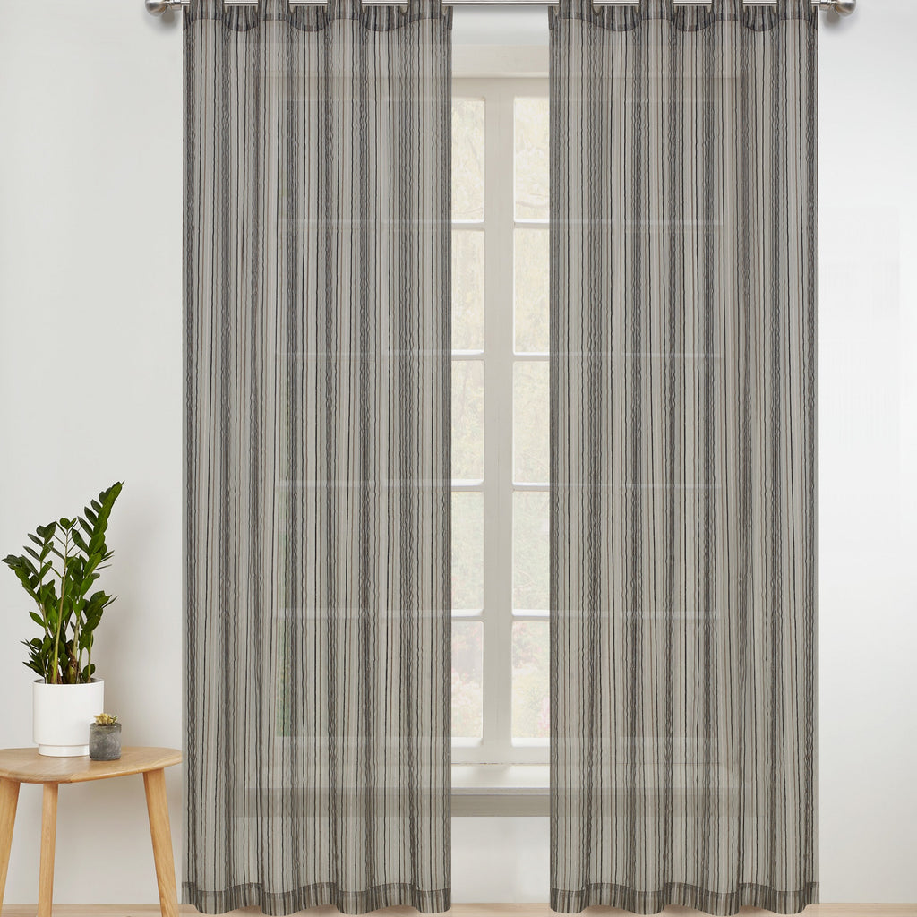 Pin Stripes Semi-sheer Grommet Panel