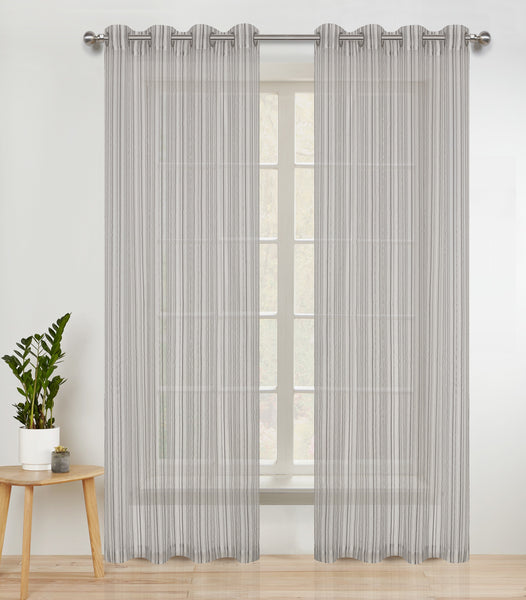 Pin Stripes Semi-sheer Grommet Panel - - Marburn Curtains
