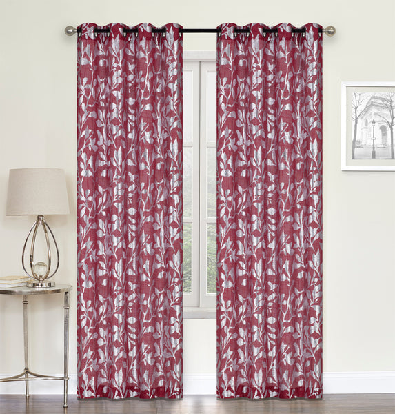 "Rhiannon Grommet Curtain Panel 84"" - 050x084   Red  C44720- Marburn Curtains"