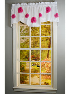 Rhinestone Bloomers Rod Pocket M Valance - Valance  057x014 Pink C34834- Marburn Curtains