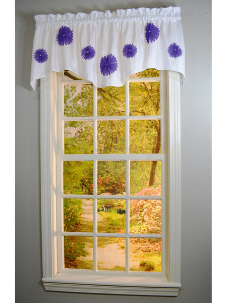 Rhinestone Bloomers Rod Pocket M Valance - Valance  057x014 Purple C34835- Marburn Curtains