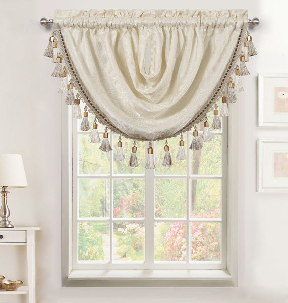 Seville Rod Pocket Waterfall Valance with Tassels - - Marburn Curtains