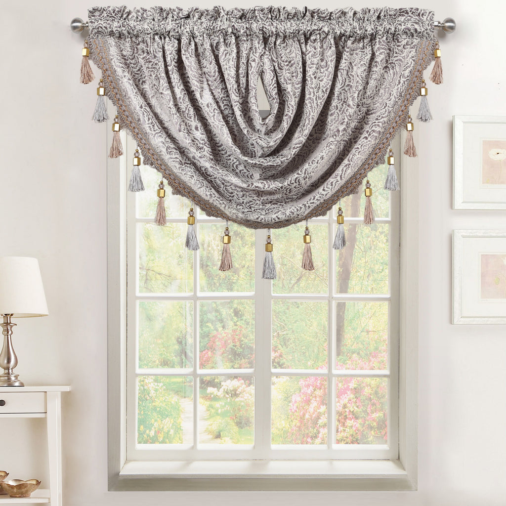 Seville Rod Pocket Waterfall Valance with Tassels
