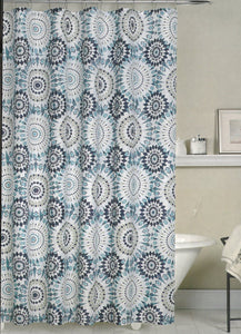 Bamboo Weave Fabric Shower Curtain-Westport Blue - - Marburn Curtains