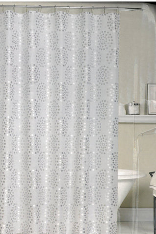 Bamboo Weave Fabric Shower Curtain - Zinna Silver - - Marburn Curtains