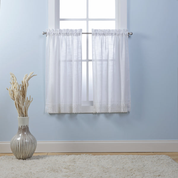 Sophia Rod Pocket Tiers with Macrame Band - Tier 056x024 White C29176- Marburn Curtains