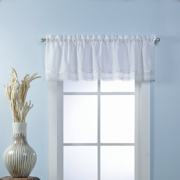 Sophia Rod Pocket Valance with Macrame Band - Valance  058x014 Ivory C29179- Marburn Curtains
