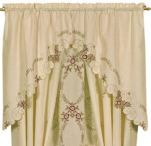 Verona Embroidery Kitchen Collection - Swag 060x038 Ecru Rose C30875- Marburn Curtains