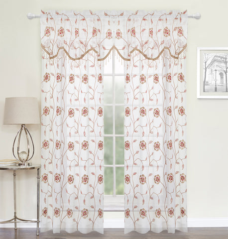 Salisbury Semi-Sheer Rod Pocket Panel - Panel 52x84 Neutral/Multi C41203- Marburn Curtains