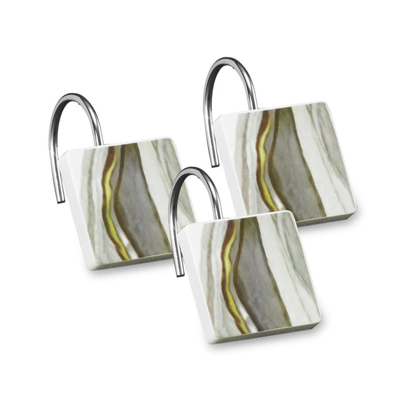 Sand Stone Fabric Bath Collection - Shower Hooks C40394- Marburn Curtains