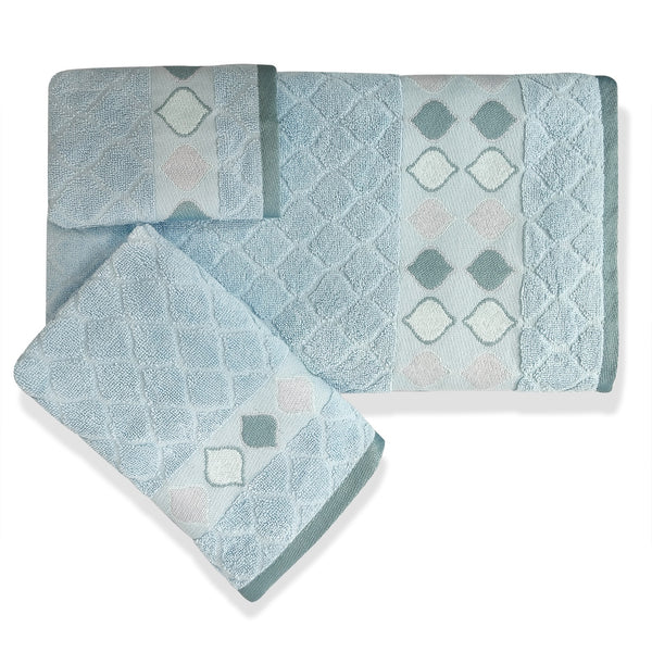 Sea Glass Fabric Bath Collection - Fingertip Towels 2pc 012x018 Slate Blue C39805-S2- Marburn Curtains