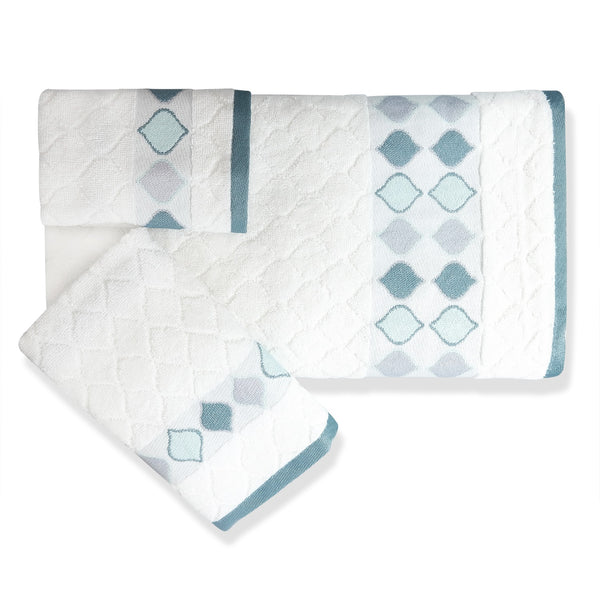Sea Glass Fabric Bath Collection - Fingertip Towels 2pc 012x018 White C39802-s2- Marburn Curtains