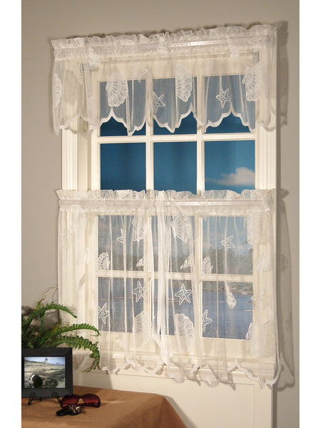 Seashell Lace Rod Pocket Panel Collection - Tier 056x024 Ivory C33805- Marburn Curtains
