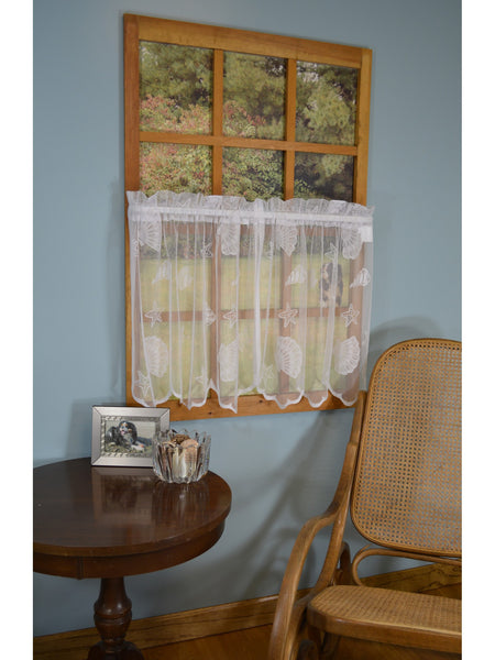 Seashell Lace Rod Pocket Panel Collection - Tier 056x024 White C33806- Marburn Curtains