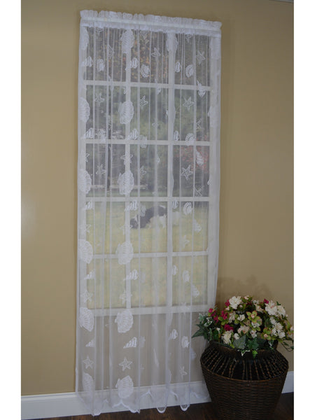 Seashell Lace Rod Pocket Panel Collection - Panel   056x084 Ivory C33803- Marburn Curtains