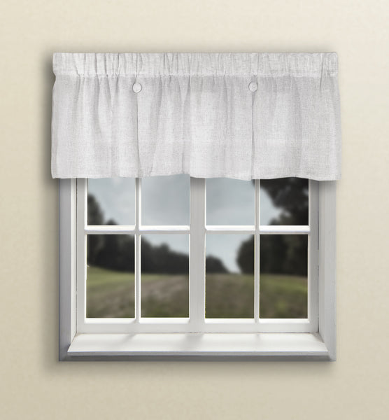 Shannon Rod Pocket Button Valance - Button Valance 052x015 White C24382- Marburn Curtains