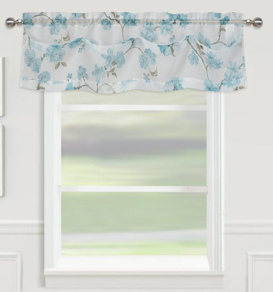 "Sheffield Rod Pocket Valance 14"" - Teal  C42927- Marburn Curtains"