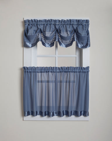 Silhouette Sheer Rod Pocket Tier - Tier 060x024 Blue C28953- Marburn Curtains