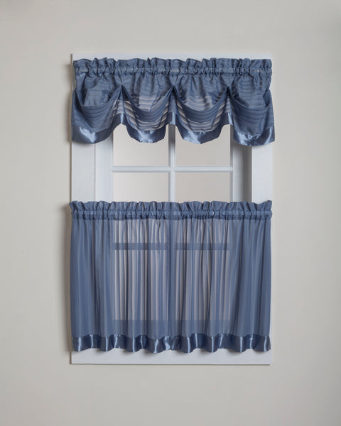 Silhouette Sheer Rod Pocket Collection - Tier 060x024 Blue C28953- Marburn Curtains