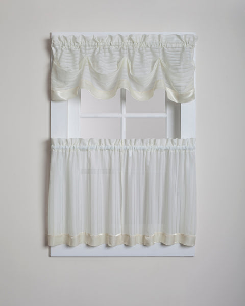 Silhouette Sheer Rod Pocket Collection - Tier 060x024 Ecru C28954- Marburn Curtains