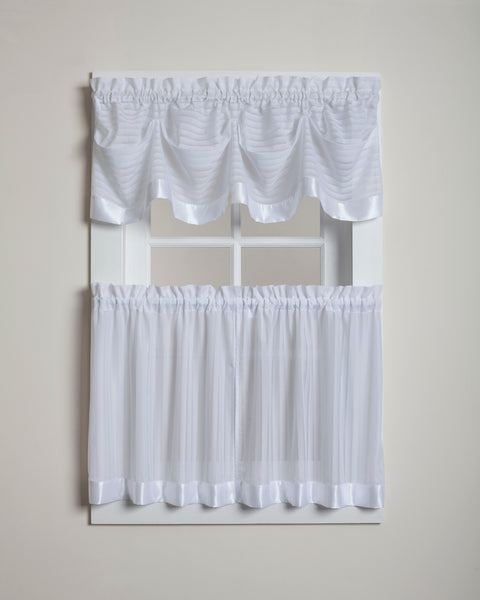 Silhouette Sheer Rod Pocket Collection - Tier 060x024 White C28955- Marburn Curtains