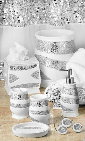 Sinatra Fabric Bath Collection White - - Marburn Curtains