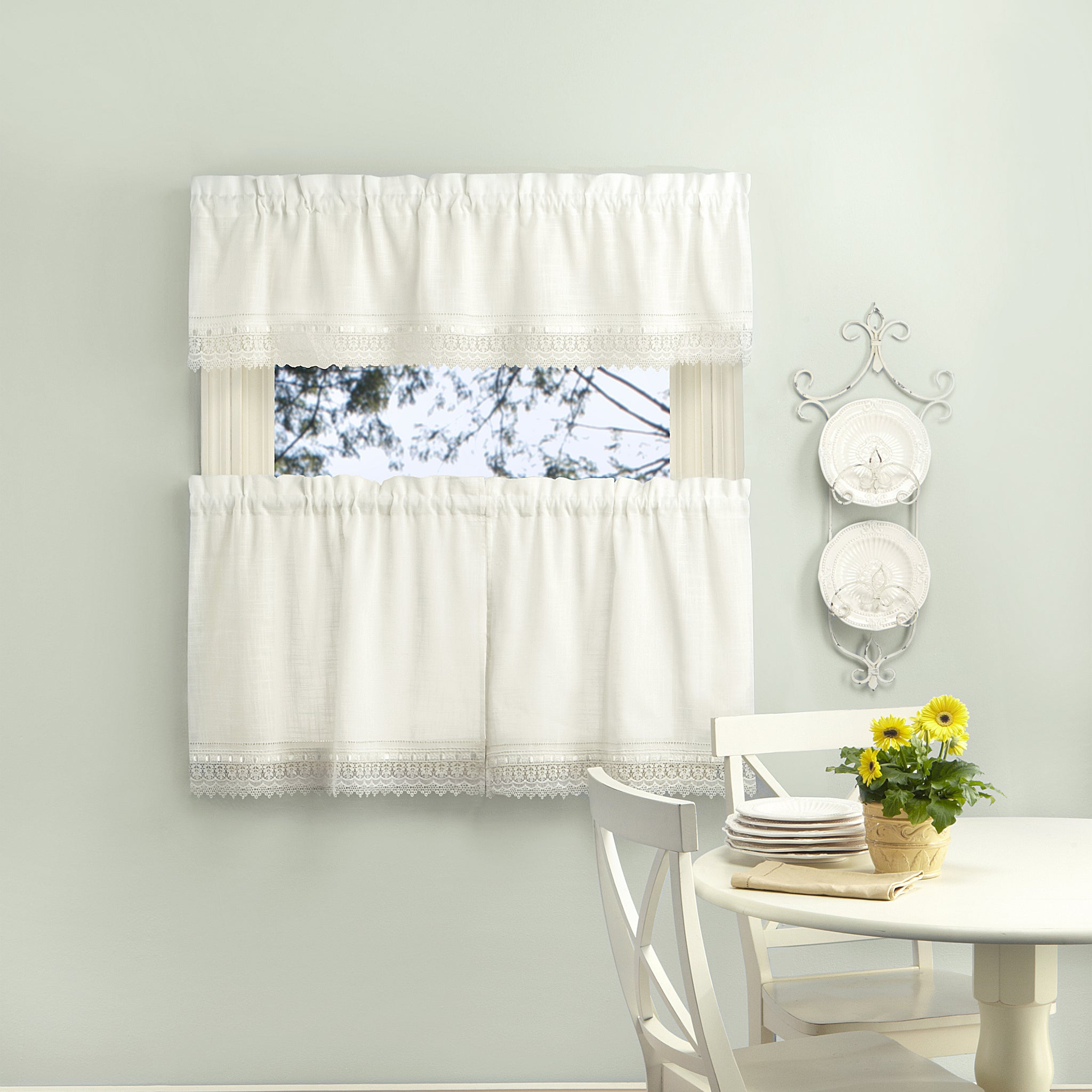 Sophia Rod Pocket Tiers with Macrame Band - Tier 056x024 Ivory C29175- Marburn Curtains