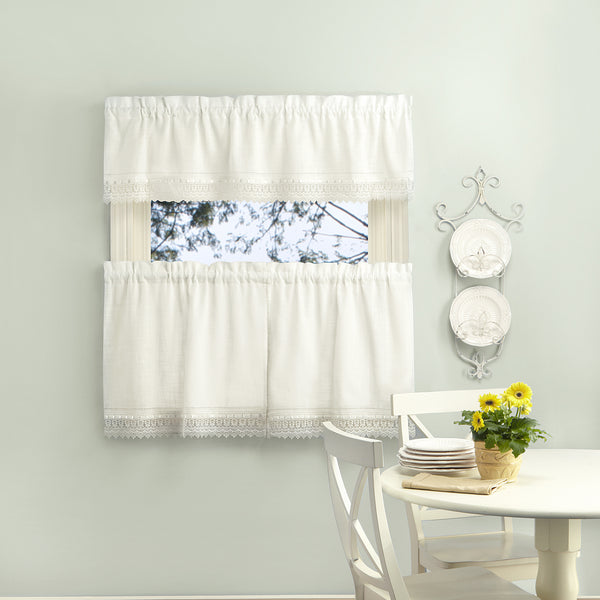 Sophia Rod Pocket Valance with Macrame Band - - Marburn Curtains