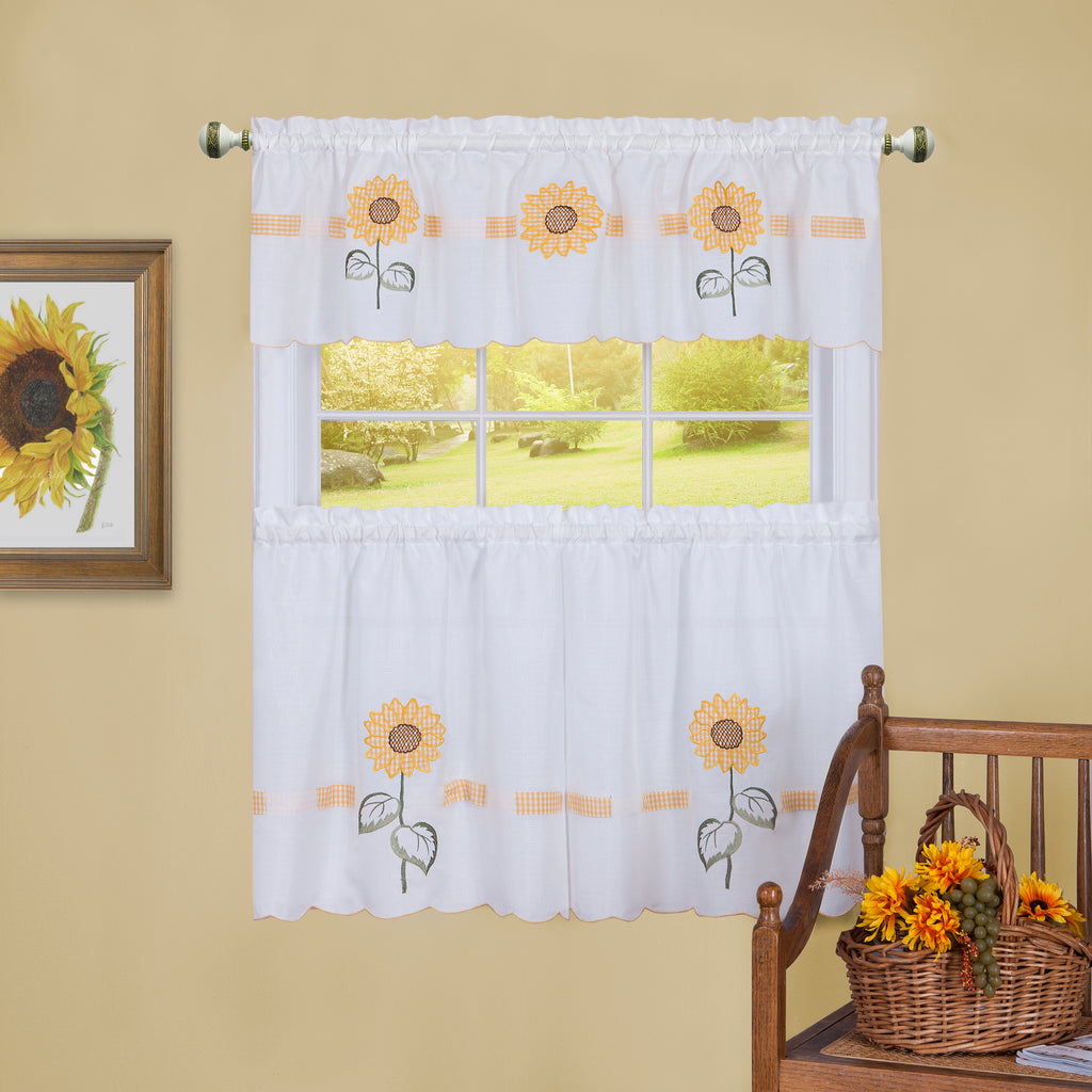 Sun Blossom Embroidered Tier & Valance Set
