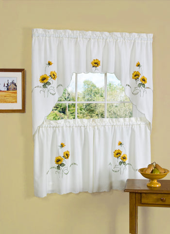 Sunshine Rod Pocket Tier & Swag Set - Tier/Swag Set/Yellow/058x024 C25747- Marburn Curtains