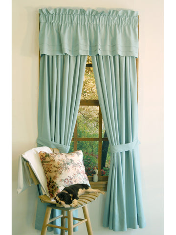 Supple Microfiber Rod Pocket Panel PAIR - Panel Pair   112x096 Aqua C28906- Marburn Curtains