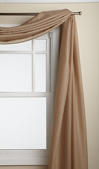 Reverie Rod Pocket Semi-Sheer Snow Voile Panel Collection - Scarf  060x216 Chocolate C33478- Marburn Curtains