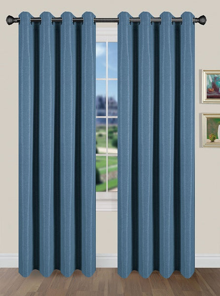 Tivoli Room Darkening Grommet Panel - Panel   054x084 Steel Blue C40588- Marburn Curtains
