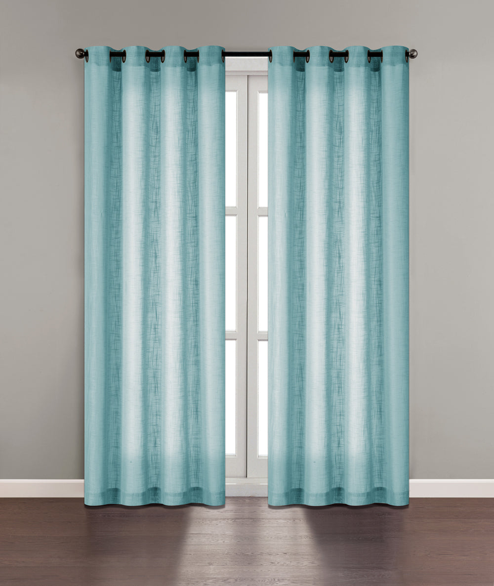 "Tranquility Semi-Sheer Solid Grommet Panel 84"" - Blue C42310- Marburn Curtains"