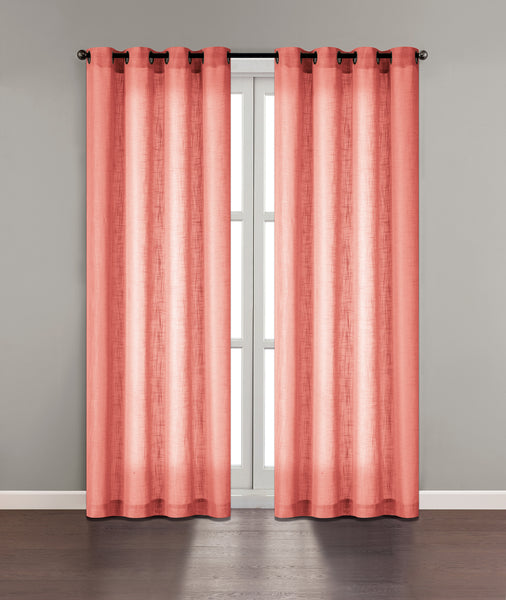 "Tranquility Semi-Sheer Solid Grommet Panel 84"" - Coral C42311- Marburn Curtains"